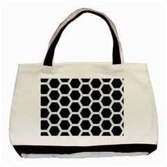 Hexagon2 Black Marble & White Linen (r) Basic Tote Bag