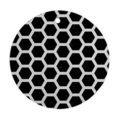 Hexagon2 Black Marble & White Linen (r) Round Ornament (two Sides)