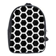 Hexagon2 Black Marble & White Linen (r) School Bag (large)
