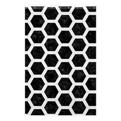 Hexagon2 Black Marble & White Linen (r) Shower Curtain 48  X 72  (small)