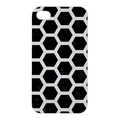 Hexagon2 Black Marble & White Linen (r) Apple Iphone 4/4s Premium Hardshell Case