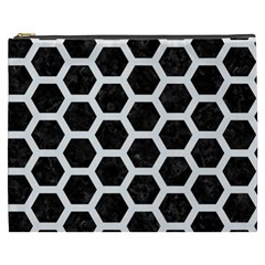 Hexagon2 Black Marble & White Linen (r) Cosmetic Bag (xxxl)