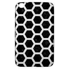 Hexagon2 Black Marble & White Linen (r) Samsung Galaxy Tab 3 (8 ) T3100 Hardshell Case