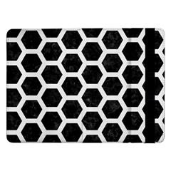 Hexagon2 Black Marble & White Linen (r) Samsung Galaxy Tab Pro 12 2  Flip Case