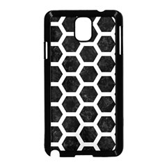 Hexagon2 Black Marble & White Linen (r) Samsung Galaxy Note 3 Neo Hardshell Case (black)