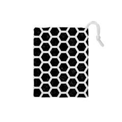 Hexagon2 Black Marble & White Linen (r) Drawstring Pouches (small)