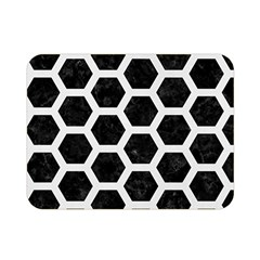Hexagon2 Black Marble & White Linen (r) Double Sided Flano Blanket (mini)
