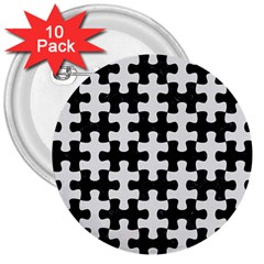 Puzzle1 Black Marble & White Linen 3  Buttons (10 Pack)