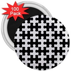 Puzzle1 Black Marble & White Linen 3  Magnets (100 Pack)