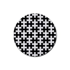 Puzzle1 Black Marble & White Linen Rubber Round Coaster (4 Pack)