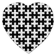 Puzzle1 Black Marble & White Linen Jigsaw Puzzle (heart)
