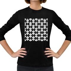 Puzzle1 Black Marble & White Linen Women s Long Sleeve Dark T Shirts