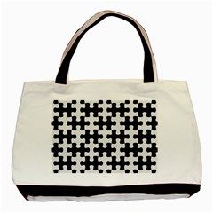 Puzzle1 Black Marble & White Linen Basic Tote Bag
