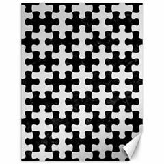 Puzzle1 Black Marble & White Linen Canvas 12  X 16