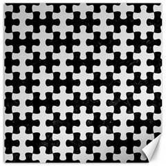 Puzzle1 Black Marble & White Linen Canvas 16  X 16