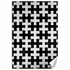 Puzzle1 Black Marble & White Linen Canvas 20  X 30