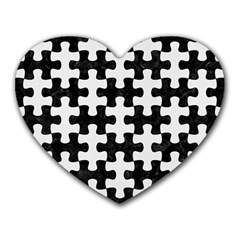 Puzzle1 Black Marble & White Linen Heart Mousepads