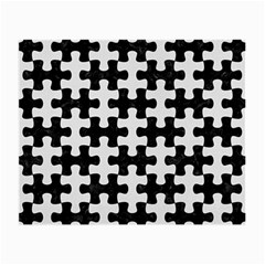 Puzzle1 Black Marble & White Linen Small Glasses Cloth (2 Side)
