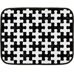 Puzzle1 Black Marble & White Linen Fleece Blanket (mini)