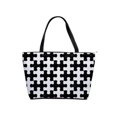 Puzzle1 Black Marble & White Linen Shoulder Handbags