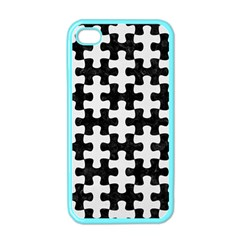 Puzzle1 Black Marble & White Linen Apple Iphone 4 Case (color)