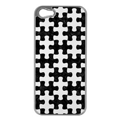 Puzzle1 Black Marble & White Linen Apple Iphone 5 Case (silver)