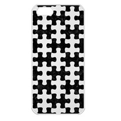 Puzzle1 Black Marble & White Linen Apple Iphone 5 Seamless Case (white)