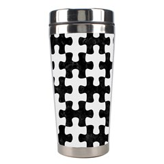Puzzle1 Black Marble & White Linen Stainless Steel Travel Tumblers