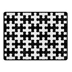 Puzzle1 Black Marble & White Linen Double Sided Fleece Blanket (small)