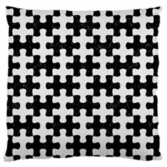 Puzzle1 Black Marble & White Linen Large Flano Cushion Case (two Sides)