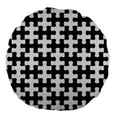 Puzzle1 Black Marble & White Linen Large 18  Premium Flano Round Cushions