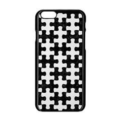Puzzle1 Black Marble & White Linen Apple Iphone 6/6s Black Enamel Case