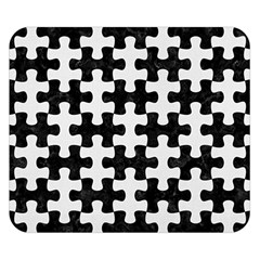 Puzzle1 Black Marble & White Linen Double Sided Flano Blanket (small)