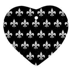 Royal1 Black Marble & White Linen Ornament (heart)