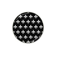 Royal1 Black Marble & White Linen Hat Clip Ball Marker