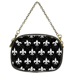 Royal1 Black Marble & White Linen Chain Purses (two Sides)
