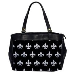 Royal1 Black Marble & White Linen Office Handbags