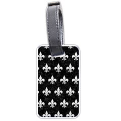 Royal1 Black Marble & White Linen Luggage Tags (two Sides)