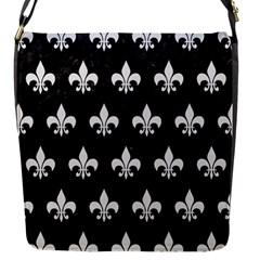 Royal1 Black Marble & White Linen Flap Messenger Bag (s)