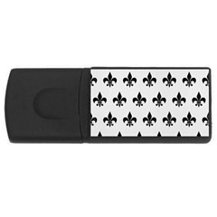 Royal1 Black Marble & White Linen (r) Rectangular Usb Flash Drive