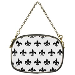 Royal1 Black Marble & White Linen (r) Chain Purses (one Side)