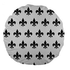 Royal1 Black Marble & White Linen (r) Large 18  Premium Round Cushions