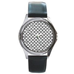 Scales1 Black Marble & White Linen Round Metal Watch