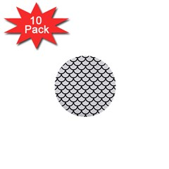 Scales1 Black Marble & White Linen 1  Mini Buttons (10 Pack)