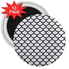 Scales1 Black Marble & White Linen 3  Magnets (10 Pack)