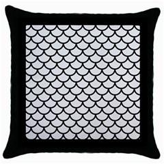 Scales1 Black Marble & White Linen Throw Pillow Case (black)