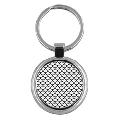 Scales1 Black Marble & White Linen Key Chains (round)