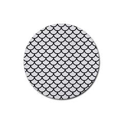 Scales1 Black Marble & White Linen Rubber Coaster (round)