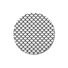 Scales1 Black Marble & White Linen Magnet 3  (round)
