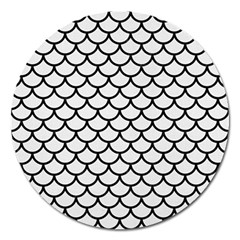 Scales1 Black Marble & White Linen Magnet 5  (round)